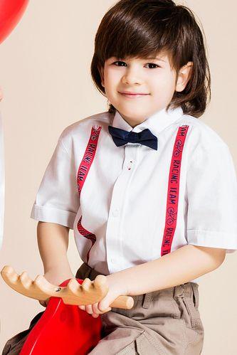 Askı Baskılı Papyonlu Erkek Çocuk Gömlek DeFacto