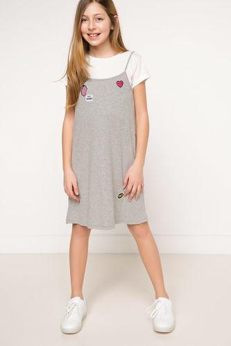 Tema Baskılı Askılı Genç Kız Elbise DeFacto